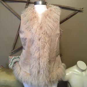 vintage 90's mongolian sheep fur suede vest
